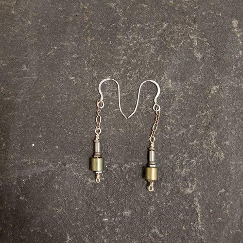 Sara Withers Hematite tube earrings