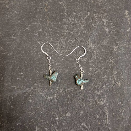 Sara Withers Bird turquoise earrings