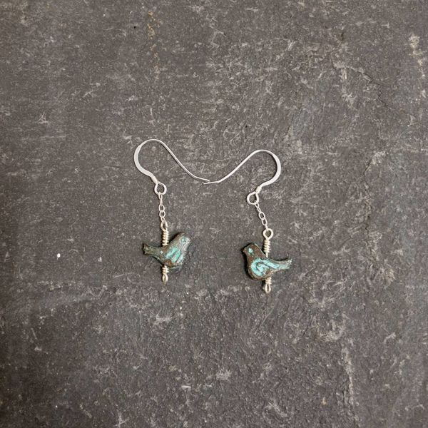 Bird turquoise earrings