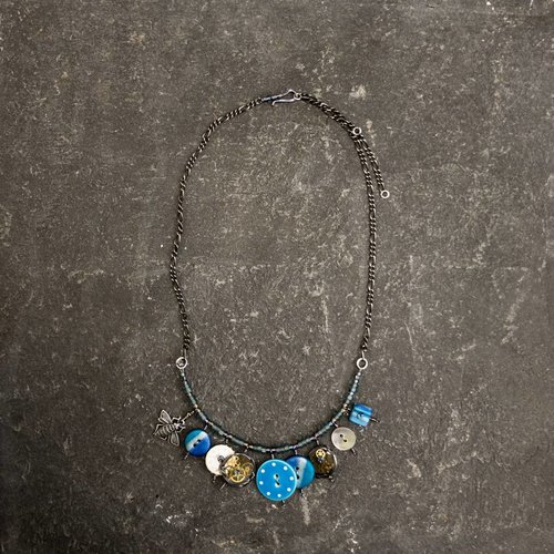 Sara Withers Magpie mixed trinket and beads Necklace blues