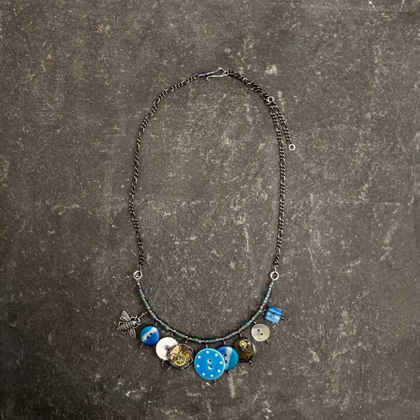 Magpie mixed trinket and beads Necklace blues