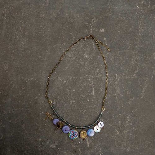 Sara Withers Copy of Magpie mixed trinket and beads Necklace blues