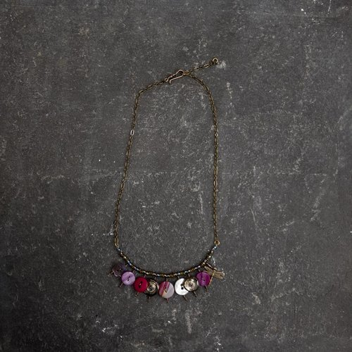 Sara Withers Copy of Magpie mixed trinket and beads Necklace purples