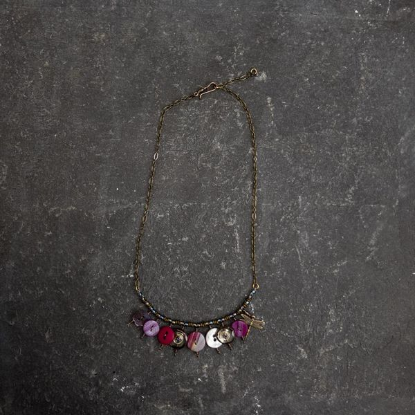 Copy of Magpie mixed trinket and beads Necklace purples