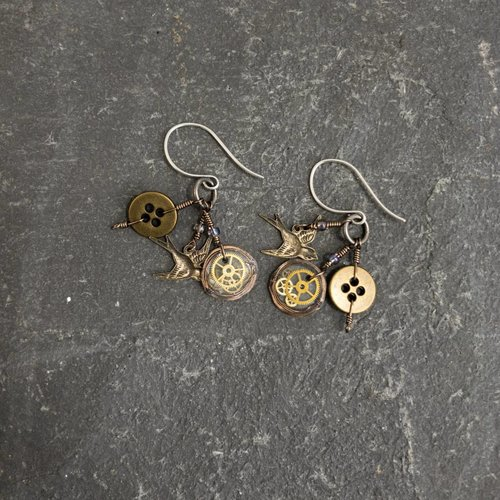 Sara Withers Magpie trinket swallow earrings