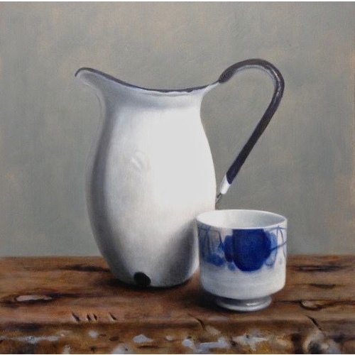 Linda Brill Enamel Jug and Chinese Pot