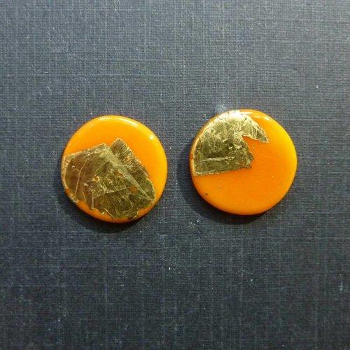 Helen Chalmers Pendiente redondo de oro naranja