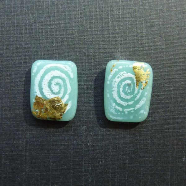 Sgraffito panel studs green blue