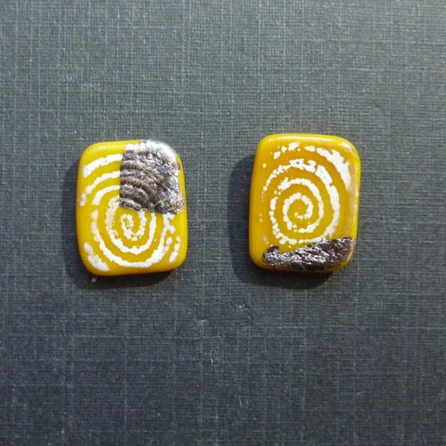 Helen Chalmers Sgraffito panel studs yellow
