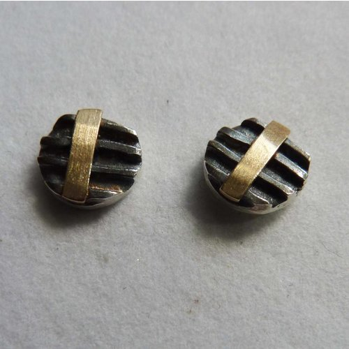 Adele Taylor Round  studs oxide silver & 14ct gold 6