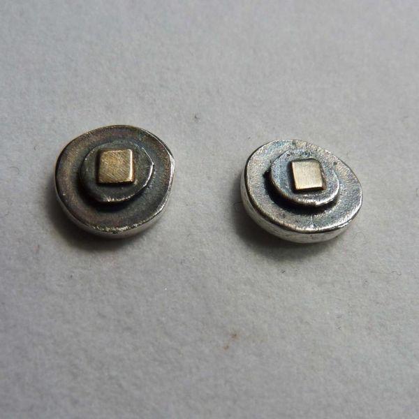 Runde Ohrstecker Oxid Silber & 14 Karat Gold 5