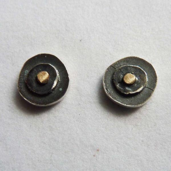 Pernos redondos de óxido de plata y 14ct de oro 1