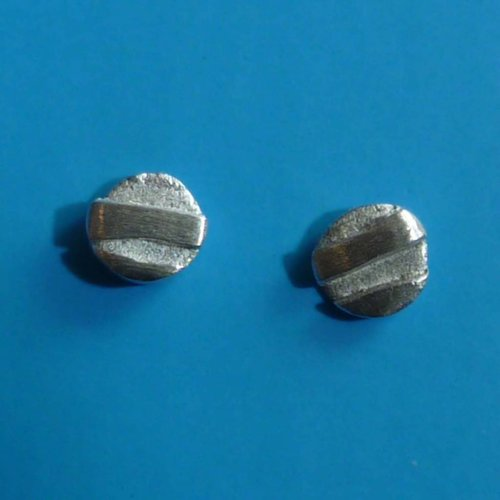 Adele Taylor Round tiny studs oxodised silver &  silver 3
