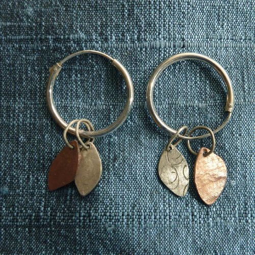 Jill Stewart Hoop leaf etched copper & silver earrings