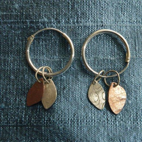 Jill Stewart Hoop leaf geätzte Kupfer & Silber Ohrringe