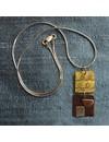 2 Quadrate Bronze & Rot Kupfer Halskette
