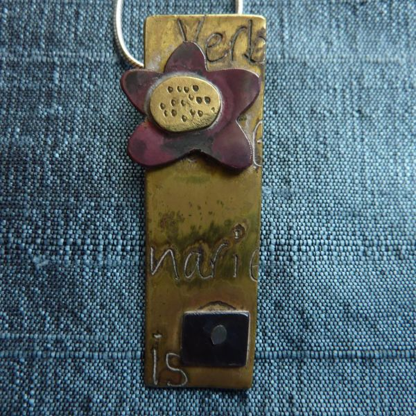 Brass &  copper flower rectangular  necklace