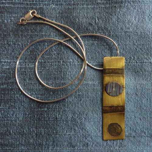 Jill Stewart Brass & titanium rectangular necklace
