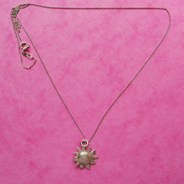 Sonnenblume Silber Halskette