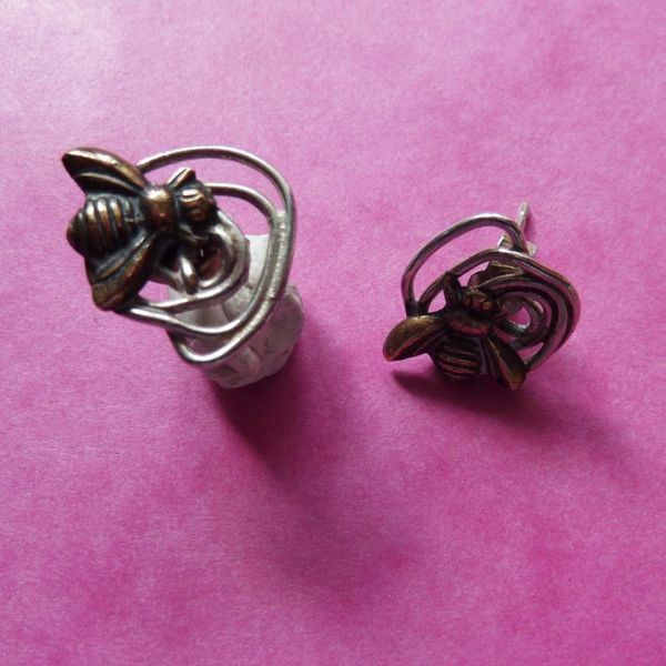 Bee studs silver and bronze earrings