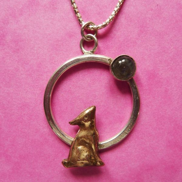 Hare in circle with moonstone necklace