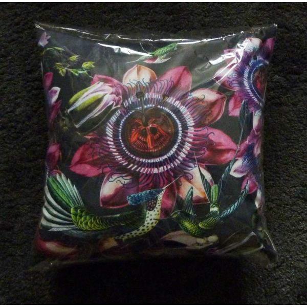 Humming Bird and Flower feather zipped cushion