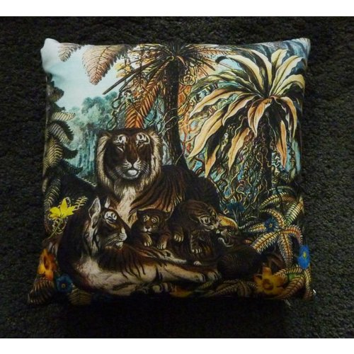 Diana Wilson Jungle Tiger feather zipped cushion