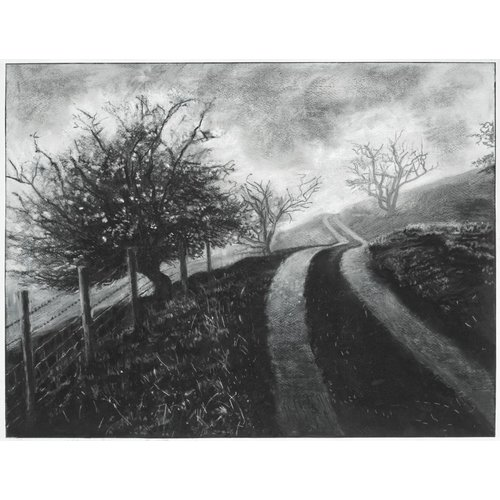 Mike Holcroft Mist on The Road to Rake Farm No. 3 Drawing Framed 59 cm x 45 cm