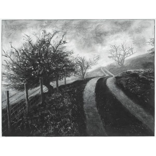 Mist on The Road to Rake Farm No. 3 Drawing Framed 59 cm x 45 cm