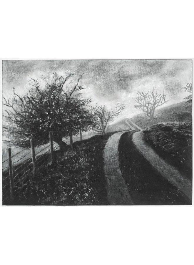 Mist on The Road to Rake Farm No. 3 Drawing Framed 59 cm x 45 cm