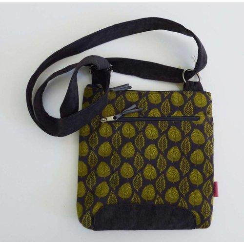 LUA Green & grey leaf messenger bag