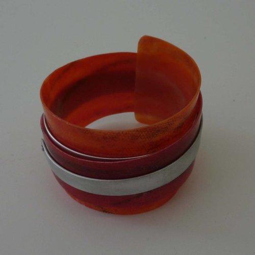 Anna Roebuck Bangle adjustable recylced Red - aluminium  07