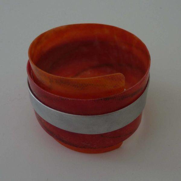 Bangle adjustable recylced Red - aluminium  07