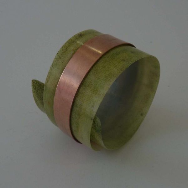 Bangle adjustable recylced Olive - copper  08