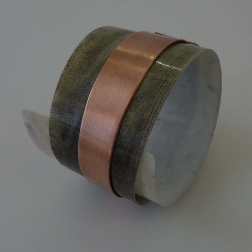 Anna Roebuck Bangle adjustable recylced Olive - copper 10