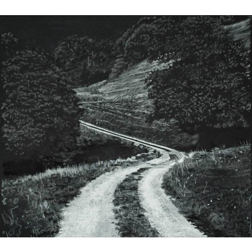 Mike Holcroft White Road to Rake Farm Charcoal Study