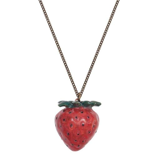 And Mary Red Strawberry necklace hand painted porcelain