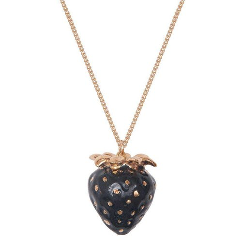 And Mary Black and gold leaf Strawberry necklace hand painted porcelain