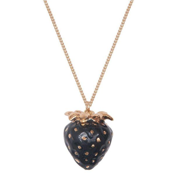 Black and gold leaf Strawberry necklace hand painted porcelain