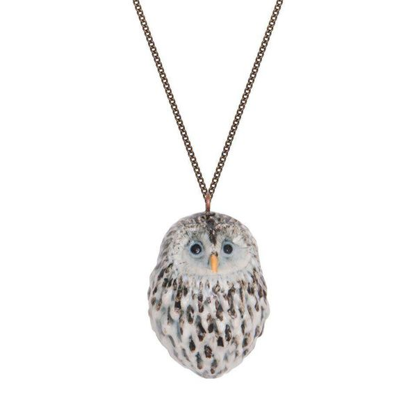 Owl necklace hand painted porcelain