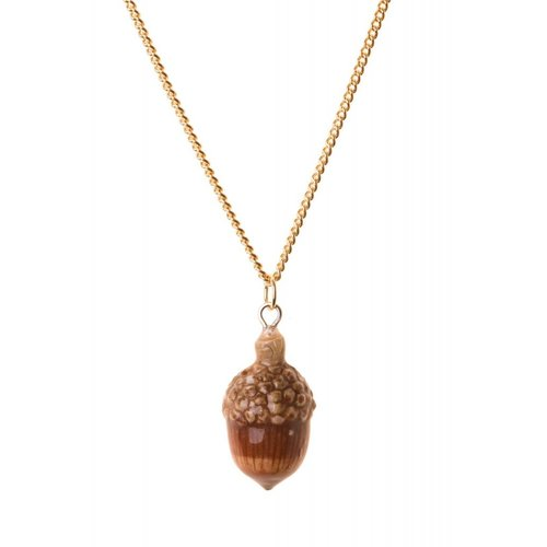 And Mary Acorn necklace hand painted, gold plated chain