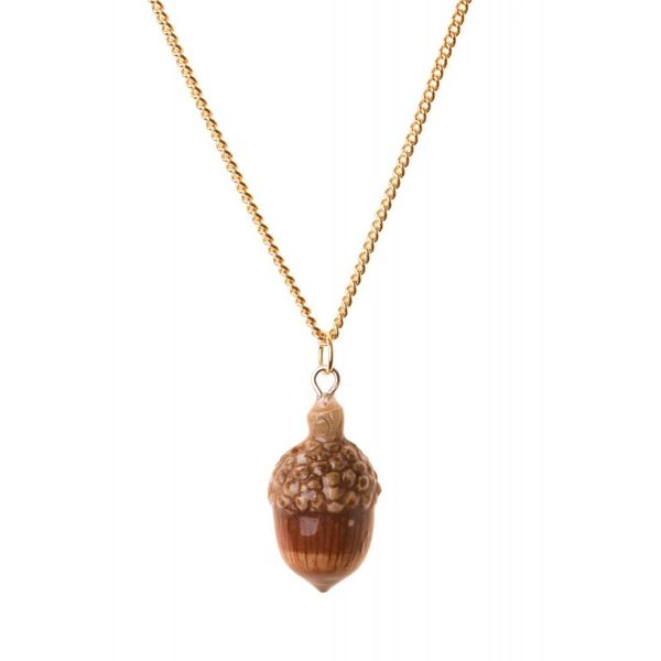 Acorn necklace hand painted, gold plated chain