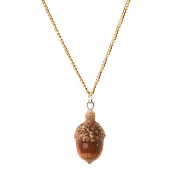 Acorn necklace hand painted porcelain