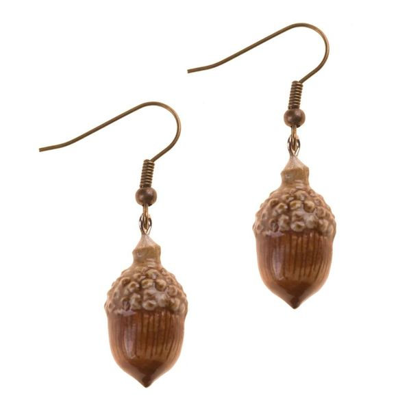 Acorn earrings hand painted porcelain