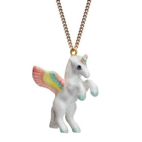 And Mary Unicorn pastel necklace hand painted porcelain