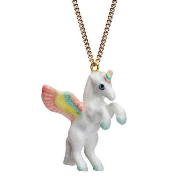Unicorn pastel necklace hand painted porcelain