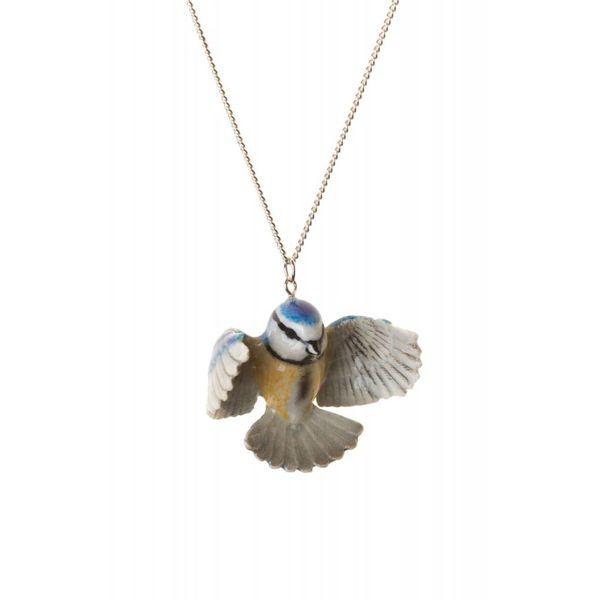 Blaue Tit Halskette handbemaltes Porzellan