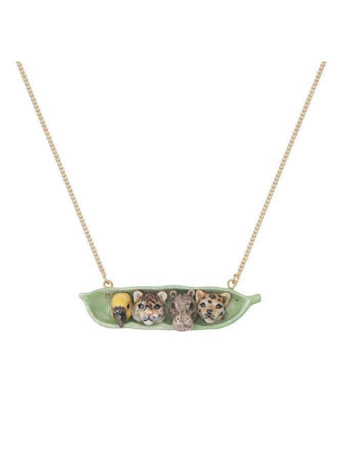 4 Tiere in Pea Pod Halskette handbemaltes Porzellan