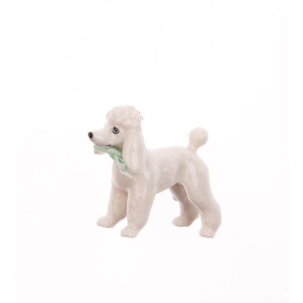 White Poodle charm hand painted porcelain