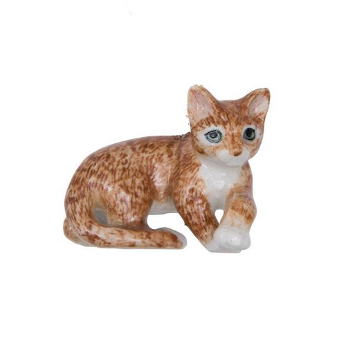 And Mary Lying ginger cat hand painted porcelain